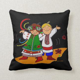 Little Dancers Ukrainian Folk Art Throw Pillow