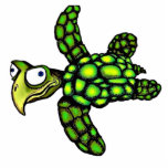 """Little Dave"" Turtle, Fish with Attitude Photo Sculpture Button"