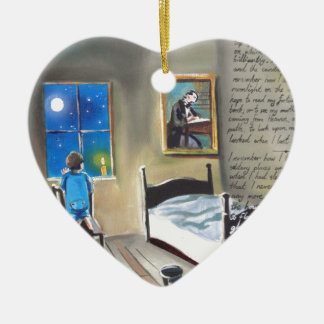 Little David Copperfield Dickens painting Double-Sided Heart Ceramic Christmas Ornament