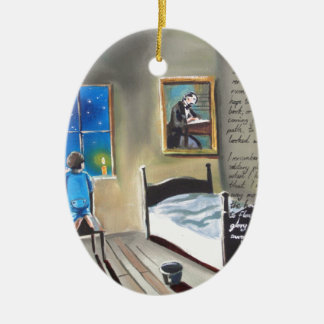 Little David Copperfield Dickens painting Double-Sided Oval Ceramic Christmas Ornament
