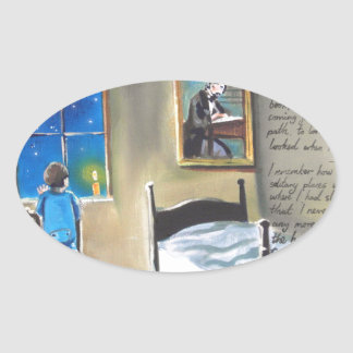 Little David Copperfield Dickens painting Oval Sticker