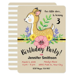 Little Deer Fall Theme Birthday Party Invitations