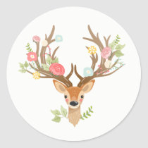 Little Deer favor tag Sticker woodland Antlers