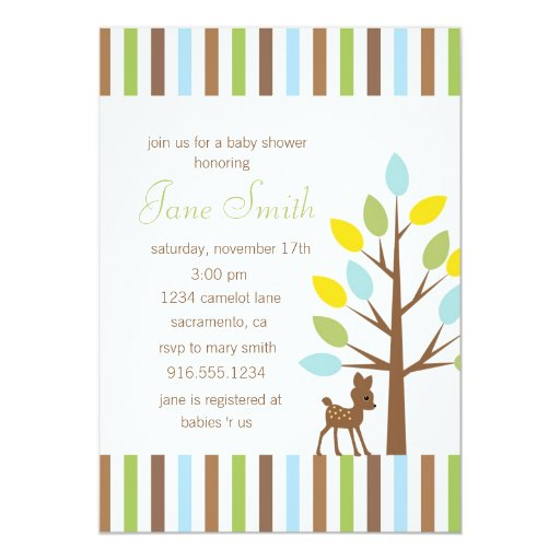 "Little Deer Gender Neutral Baby Shower Invitation 5"" X 7 ..."