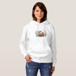 Little Deers With Roses Hand Drawn Illustration Hoodie