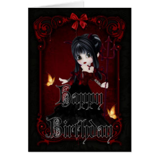 Little Devil 1 Gothic Happy Birthday Card