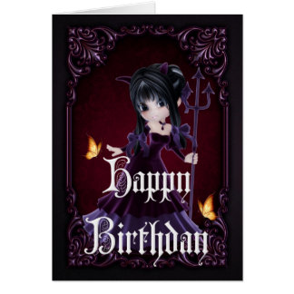 Little Devil 6 Gothic Happy Birthday Card