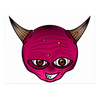 Little Devil Cartoon Head Face Horns Graphic Ympe Post Cards