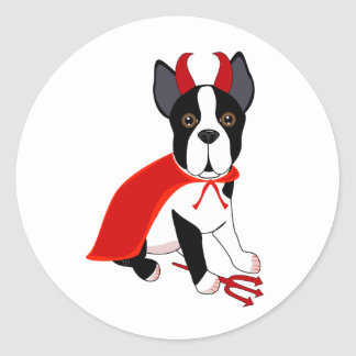 Little Devil Halloween Dog Classic Round Sticker