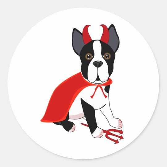 Little Devil Halloween Dog Classic Round Sticker