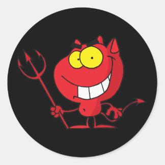Little Devil With Pitchfork Classic Round Sticker