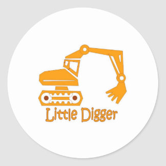 little digger classic round sticker