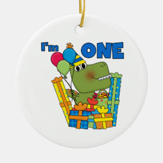 Little Dino 1st Birthday T shirts and Gifts Double-Sided Ceramic Round Christmas Ornament