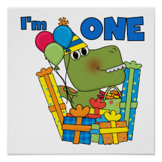Little Dino 1st Birthday T shirts and Gifts Poster