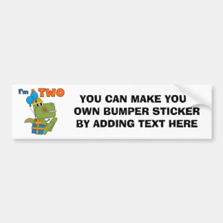 Little Dino 2nd Birthday Tshirts and Gifts Bumper Sticker