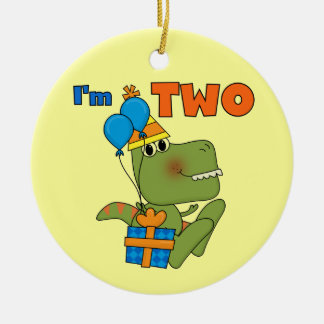 Little Dino 2nd Birthday Tshirts and Gifts Double-Sided Ceramic Round Christmas Ornament