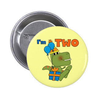 Little Dino 2nd Birthday Tshirts and Gifts Pinback Button