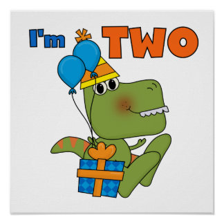 Little Dino 2nd Birthday Tshirts and Gifts Poster