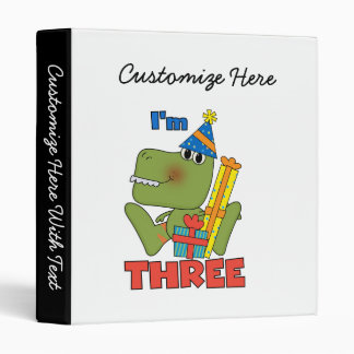 Little Dino 3rd Birthday Tshirts and Gifts 3 Ring Binder