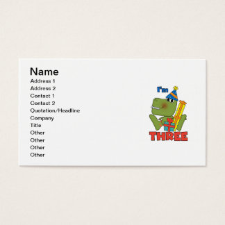 Little Dino 3rd Birthday Tshirts and Gifts Business Card