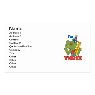 Little Dino 3rd Birthday Tshirts and Gifts Business Card Template
