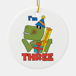 Little Dino 3rd Birthday Tshirts and Gifts Double-Sided Ceramic Round Christmas Ornament