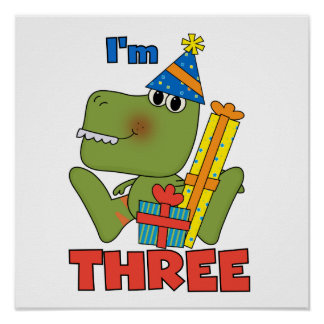Little Dino 3rd Birthday Tshirts and Gifts Poster