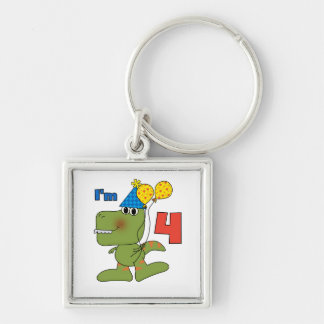 Little Dino 4th Birthday Tshirts and Gifts Key Chain