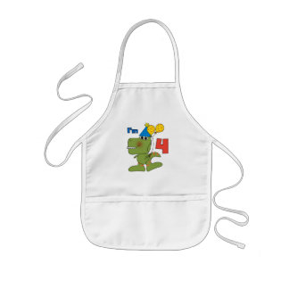 Little Dino 4th Birthday Tshirts and Gifts Kids' Apron