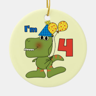 Little Dino 4th Birthday Tshirts and Gifts Double-Sided Ceramic Round Christmas Ornament