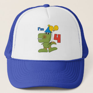 Little Dino 4th Birthday Tshirts and Gifts Trucker Hat