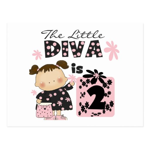 Little Diva 2nd Birthday Tshirts and Gifts Postcard