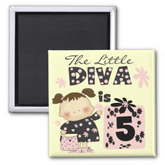 Little Diva 5th Birthday Tshirts and Gifts Magnet