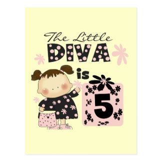 Little Diva 5th Birthday Tshirts and Gifts Postcard