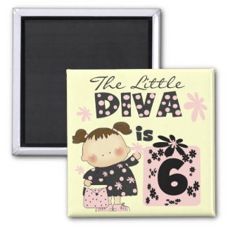 Little Diva 6th Birthday Tshirts and Gifts Magnet