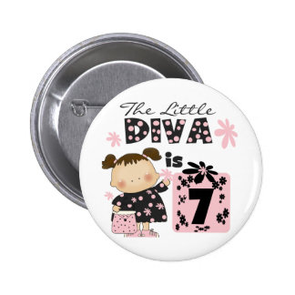 Little Diva 7th Birthday Tshirts and Gifts Buttons