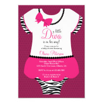 Little Diva Baby Shower Invitation, Zebra, Pink Invitation