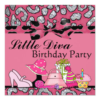Little Diva Birthday Party Sparkle In Pink & Black 5.25x5.25 Square Paper Invitation Card
