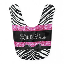 Little Diva Pink/Black Zebra Girl's Baby Bib