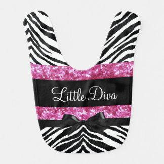 Little Diva Pink/Black Zebra Girl's Baby Bib