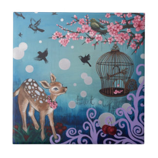 Little Doe with Cherry Blossoms Ceramic Tile