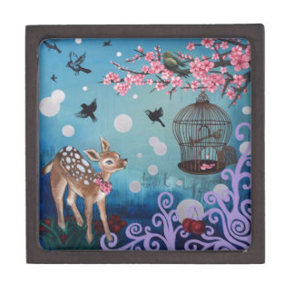 Little Doe with Cherry Blossoms Jewelry Box