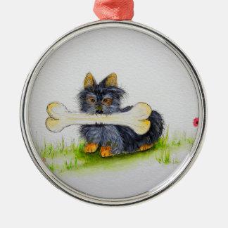 Little Dog Big Bone ( Yorkshire terrier ) Metal Ornament