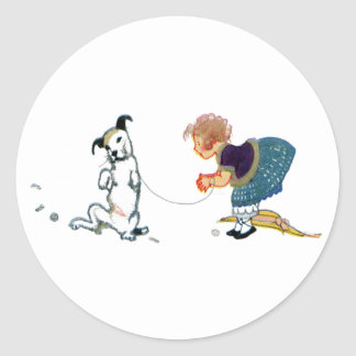 Little Dog Dancing Jig for Girl Classic Round Sticker