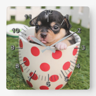 Little doggy in the cup square wall clock