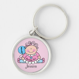 Little Doll 1st Birthday Personalized Keychain