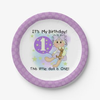 Little Doll Girl 1st Birthday Paper Plates 7 Inch Paper Plate