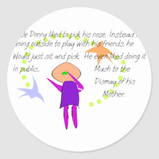 """""""Little Donny""""  Story Art Cards and T-Shirts Round Stickers"""