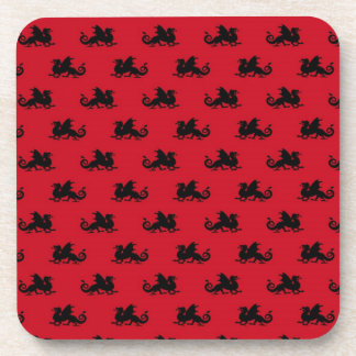 Little Dragons on Red Background Drink Coaster