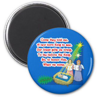 Little Drummer Boy Lyrics on T shirts and Gifts 2 Inch Round Magnet